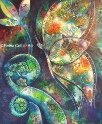 Mixed Media Butterfly & koru by Reina Cottier