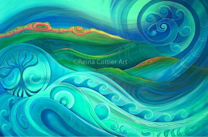 Sea scape & landscape by Reina Cottier New Zealand artist