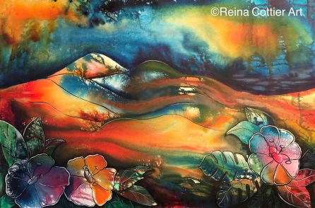 Ink painting on canvas, by Reina Cottier New Zealand Artist