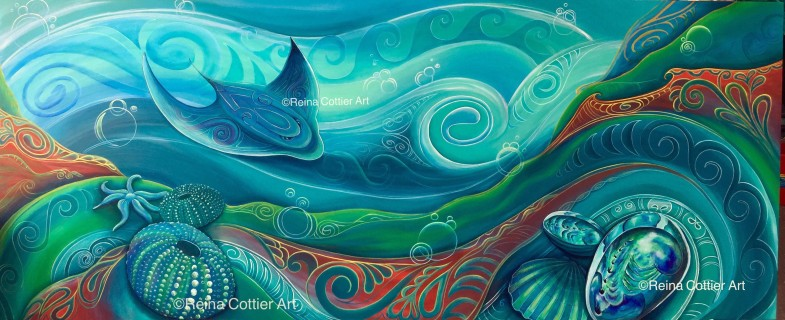 Large custom wood panel for corporate environment, featuring New Zealand native seabed- by Reina Cottier